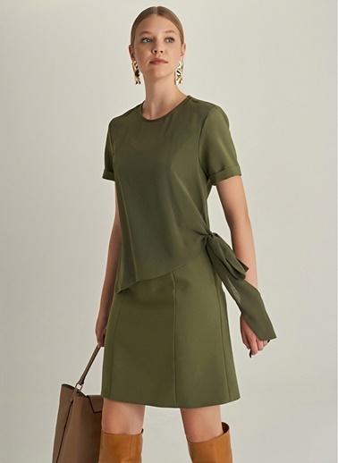 NGSTYLE Essentials - Şifon Katmanlı Elbise Haki